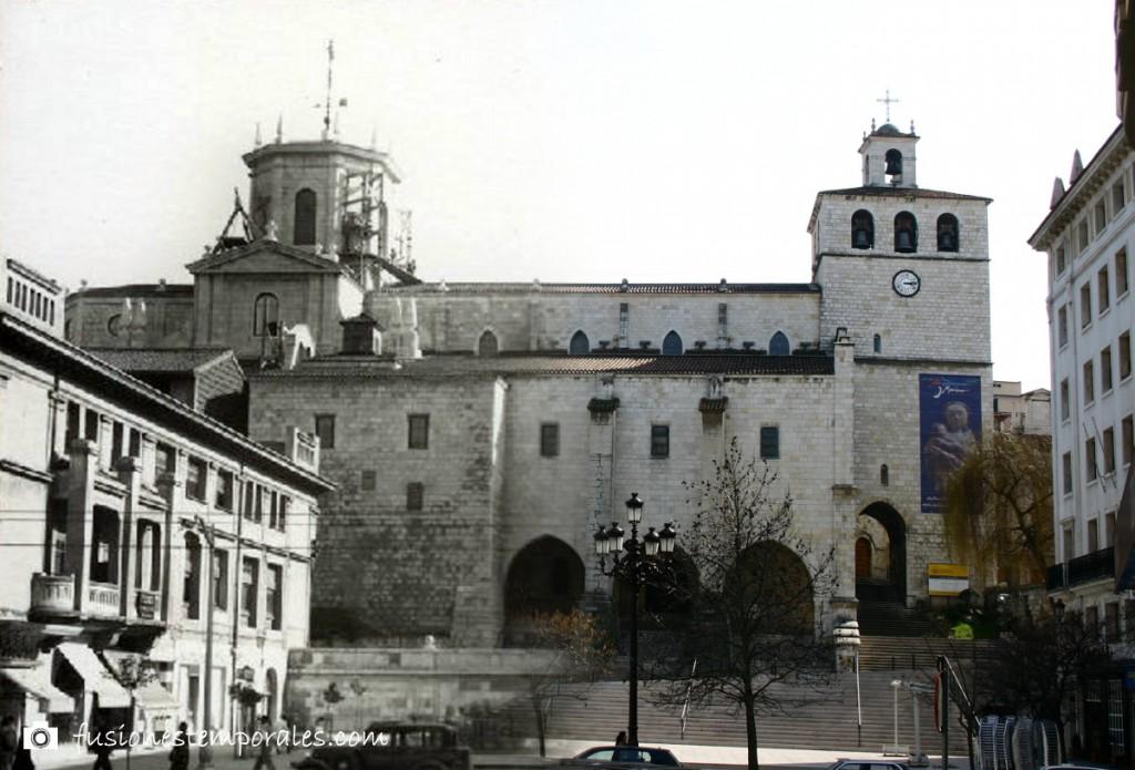 Catedral de Santander, 2005/circa 1950. Imagen actual tomada de aquí. Domínguez, Colección Víctor del Campo Cruz, CDIS.