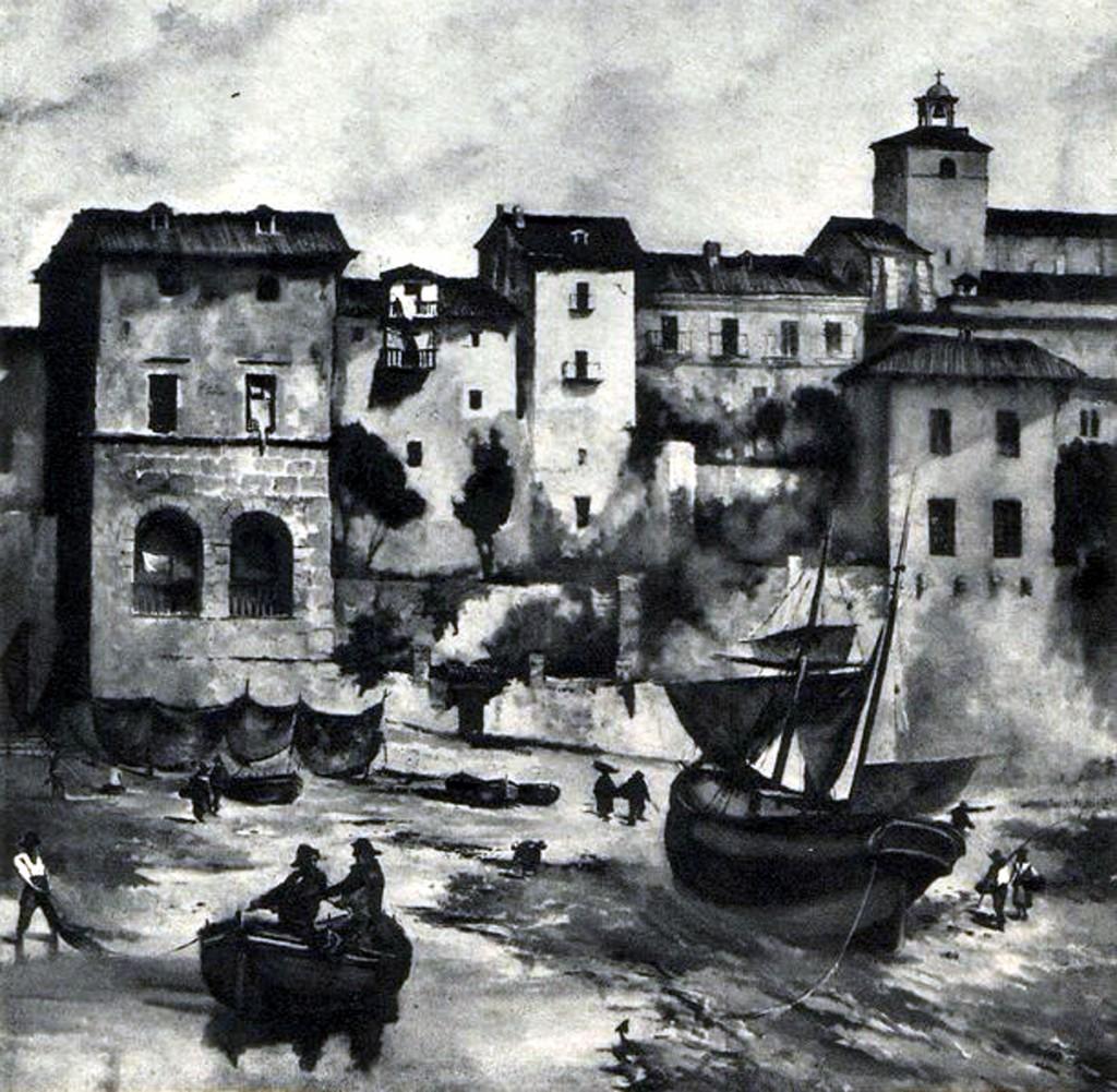 Catedral y casas de Rúamayor, 1850.