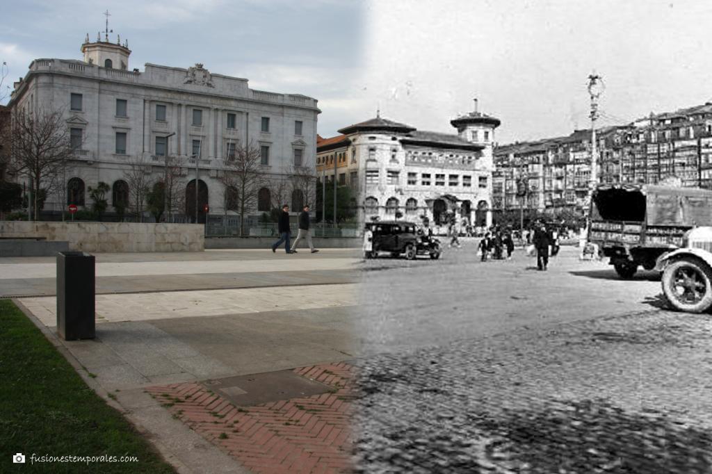 Plaza de las farolas y Calle de la Rivera (fondo), ca. 1925