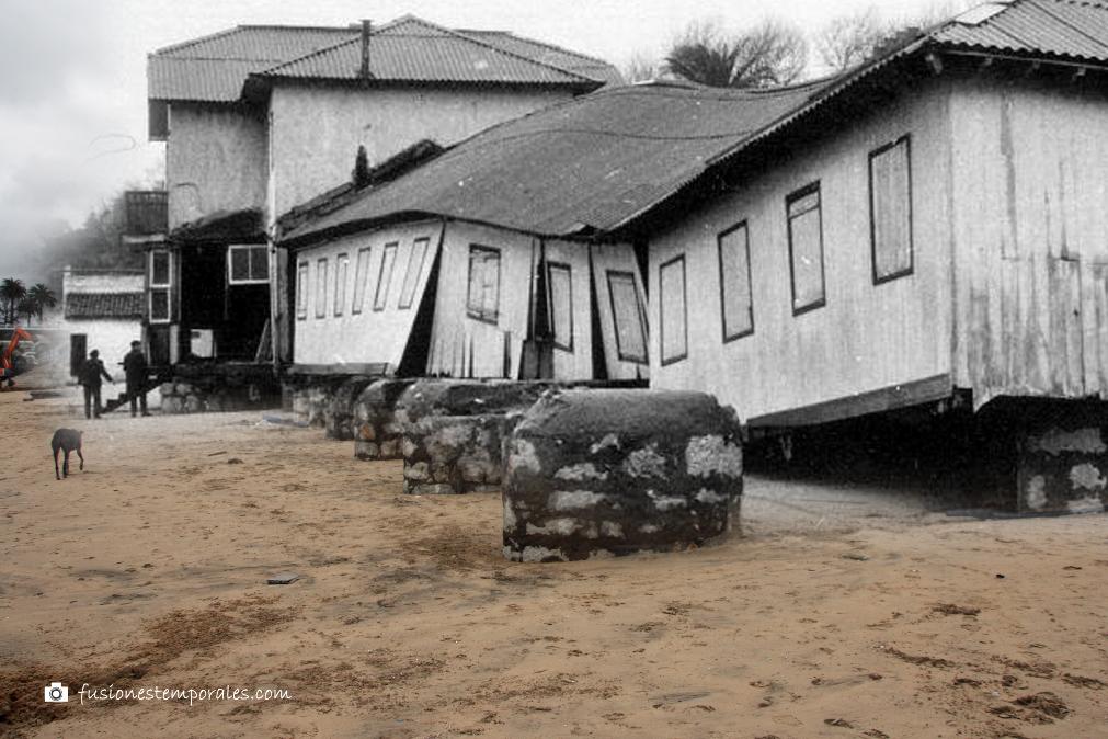 Destrozos causados por un temporal, 1951/2014 (imagen antigua tomada de aquí)