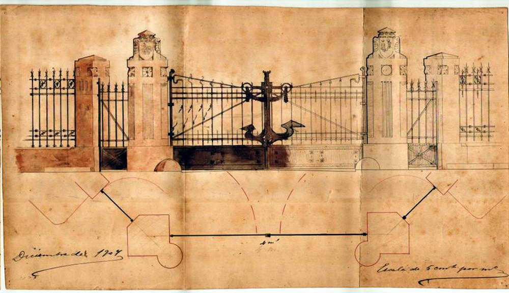 Plano de la verja de entrada al Dique de Gamazo. Puerto de Santander