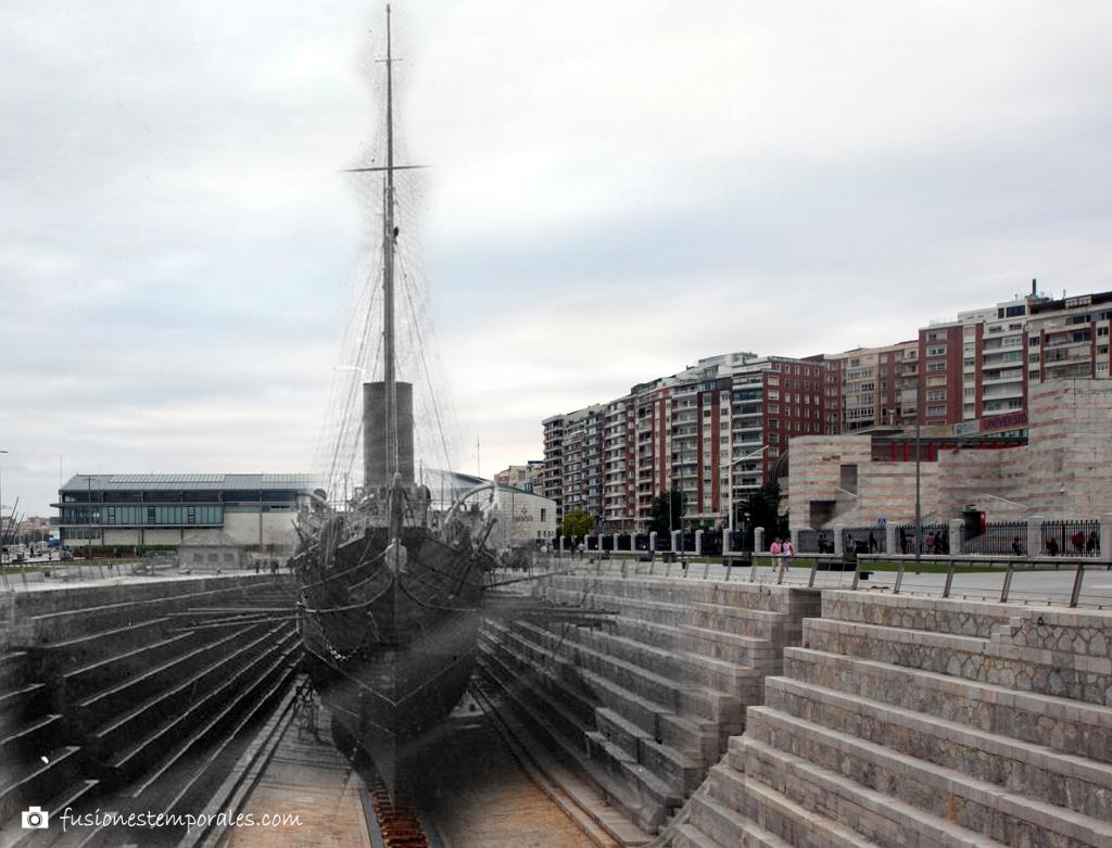 El Giralda en reparación en el Dique de Gamazo. 1926-2015. José Uzcundun, CDIS.