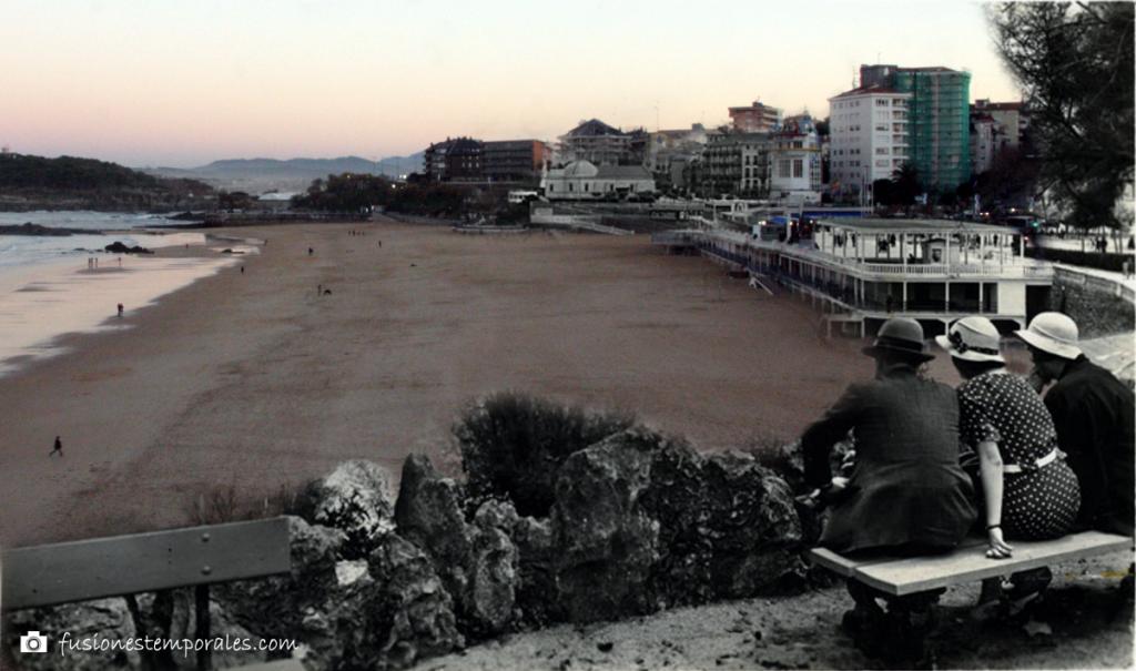Vistas de la Primera playa del Sardinero desde Piquío. Ca. 1934/2012. Lucien Roisin Besnard, CDIS.