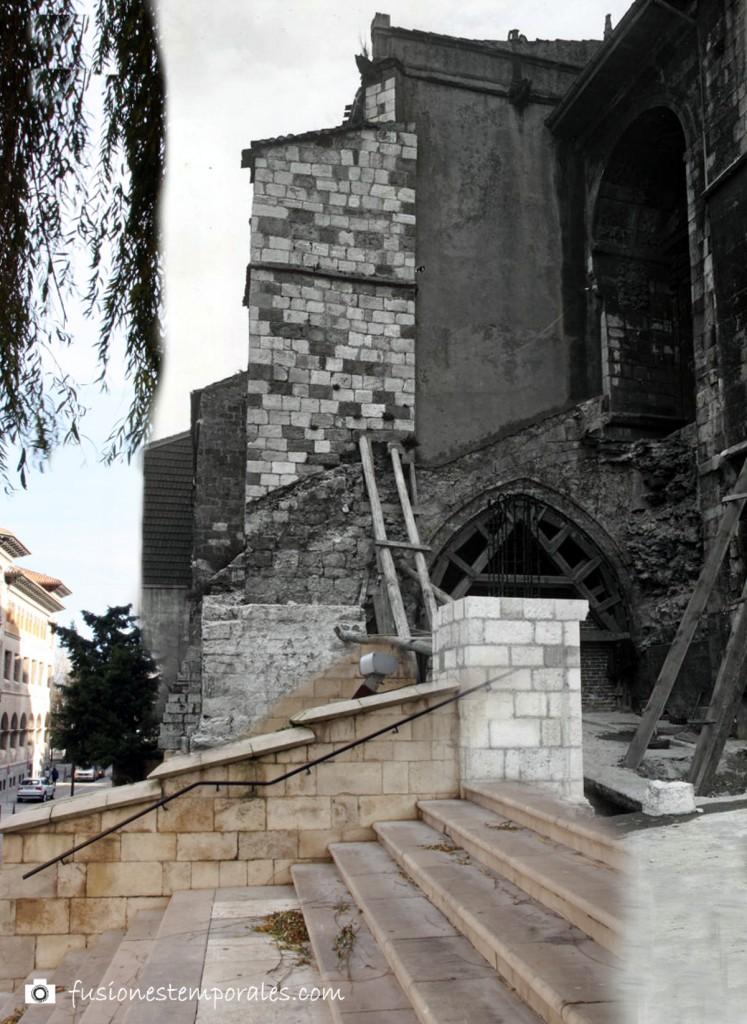 """Trabajo de """"restauración"""", añadido de contrafuerte relleno de hormigón y barras de hierro. Ca. 1942/2012, CDIS."""