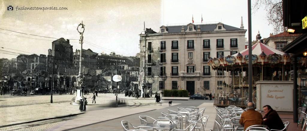 Plaza de las farolas y edificio de la Delegación del Gobierno. 1941-2012. CDIS.