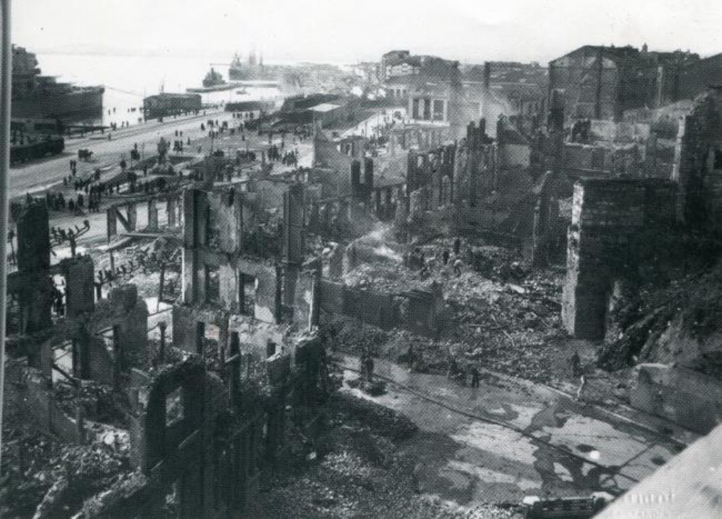 Vista de la zona de la calle Cádiz, Calderón de la Barca y Puerto de Santander. 1941, DM.