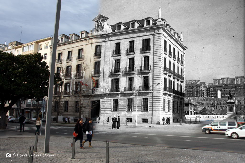 Edificio de la Delegación del Gobierno durante la construcción de la Plaza Porticada. 1945-2012. CDIS.