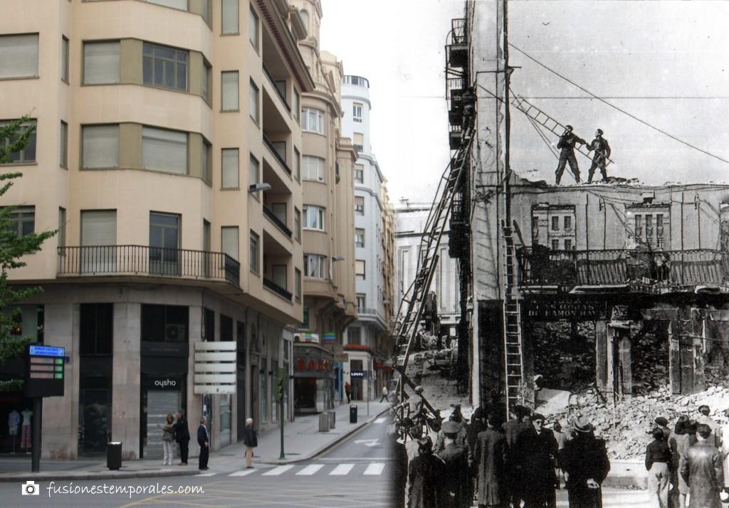 Labores de desescombro en la Calle Atarazanas (hoy Calvo Sotelo). 1941-2012. CDIS.